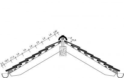 Skizze von Dachschnitt mit Berliner Biber