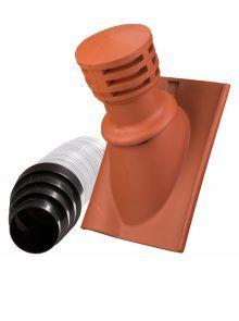 Tondunstrohr inkl. Durchlassziegel und Schlauch für Krempziegel K1 - Zubehör Dachziegel
