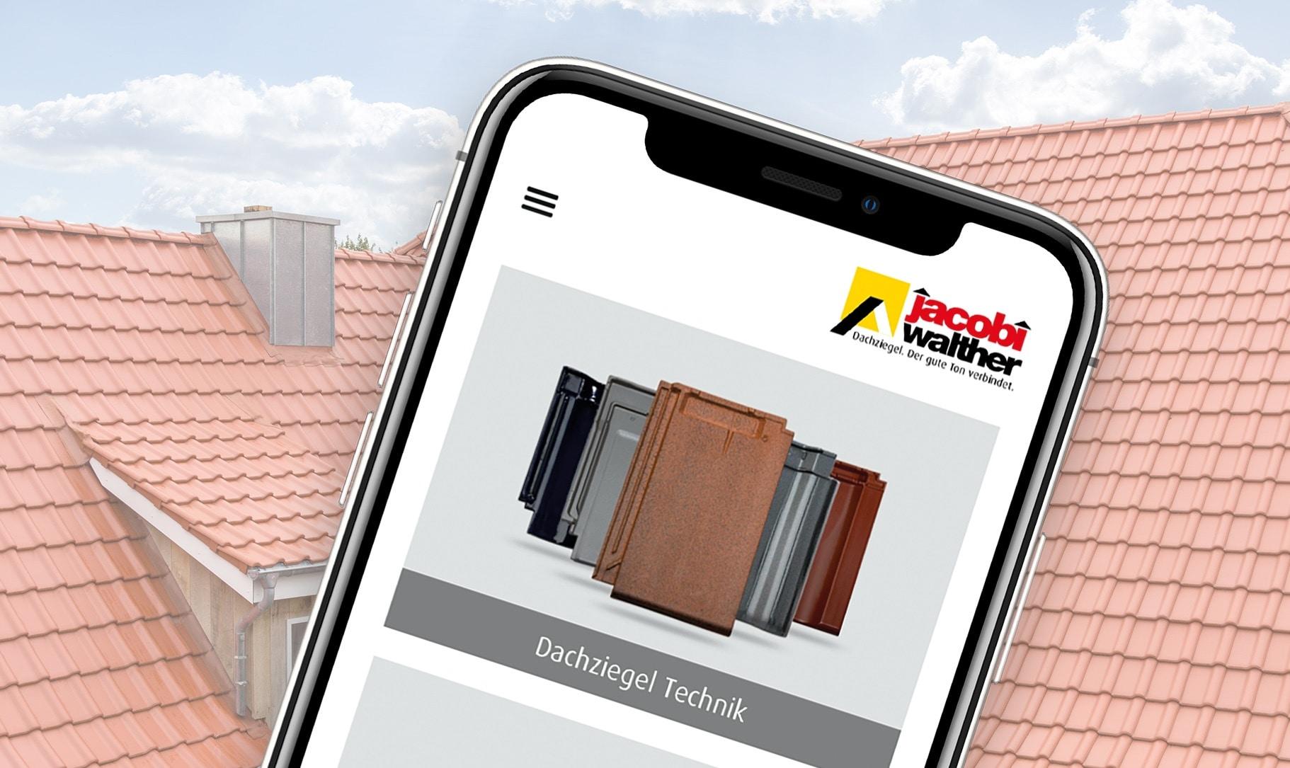 Smartphone-Screen, der die App Dachziegel-Technik zeigt