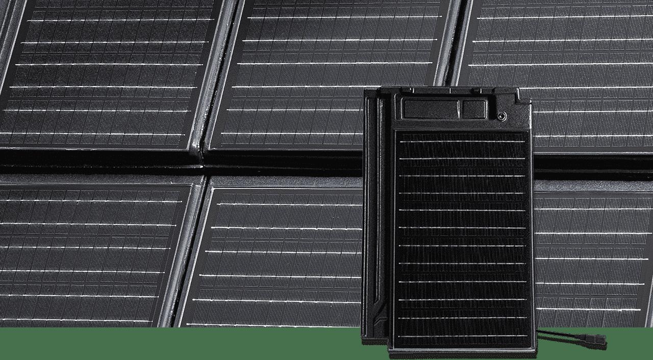 Solardachziegel Stylist-PV mit autarq in Fläche gedeckt