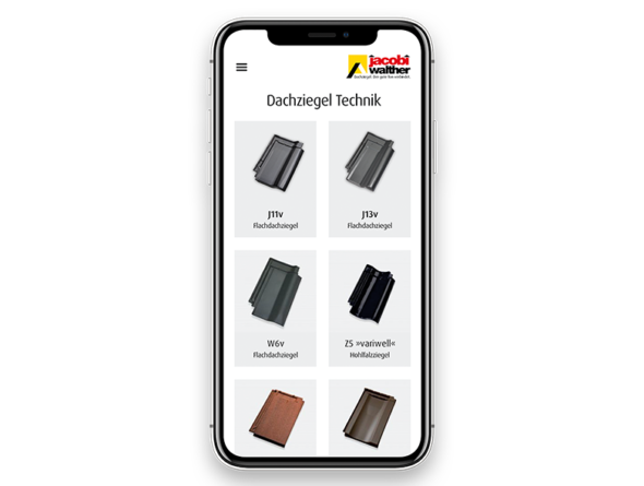 Smartphone mit App Dachziegel-Technik: Katalog