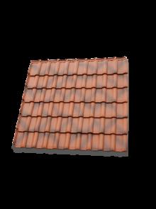 Flachdachziegel W6v brasil in Fläche gedeckt