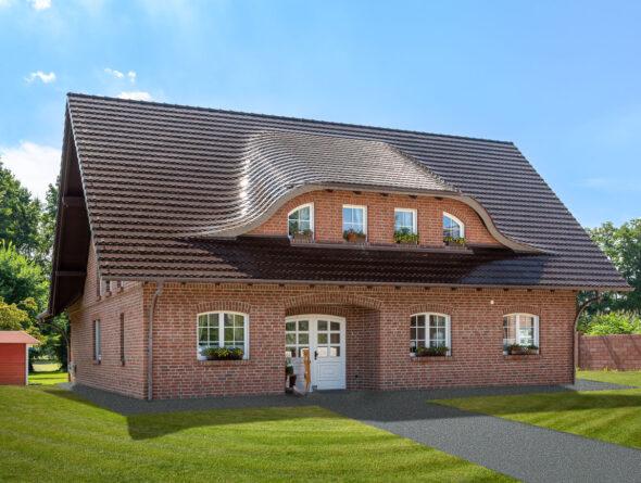Klinkerhaus mit Biberschwanzziegel in maronenbraun
